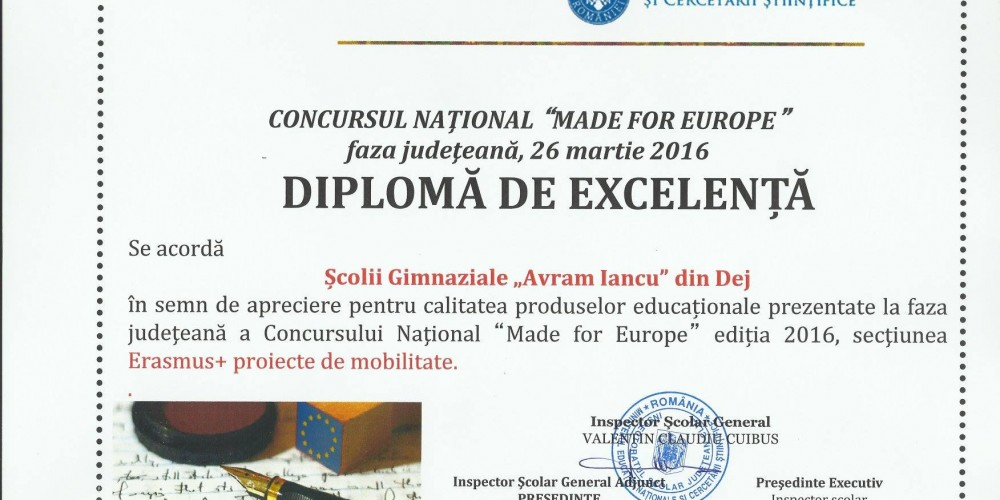 """Școala Gimnazială """"Avram Iancu"""" din Dej -DIPLOMĂ DE EXCELENŢĂ la concursul naţional  """"Made for Europe"""""""