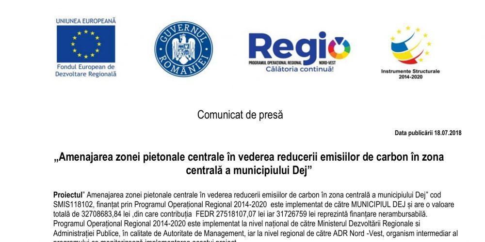 Amenajarea zonei pietonale centrale în vederea reducerii emisiilor de carbon în zona centrală a municipiului Dej