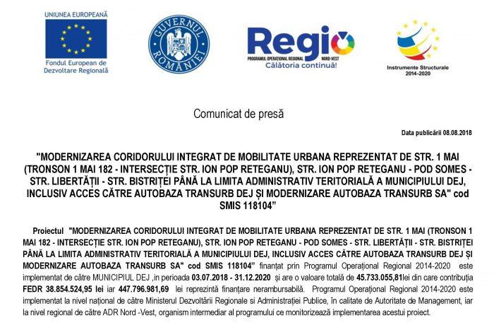 """Proiect de  """"modernizare a coridorului  integrat de mobilitate urbană"""" în Dej"""