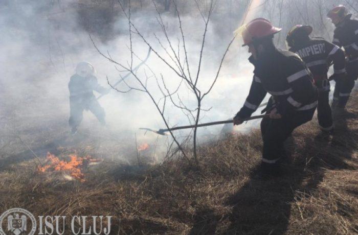 Pompierii clujeni au intervenit pentru a stinge peste 70 de incendii de vegetație uscată