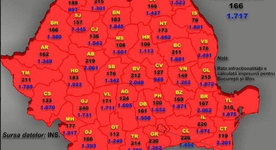 Harta criminalității din România, în ultimii 20 de ani