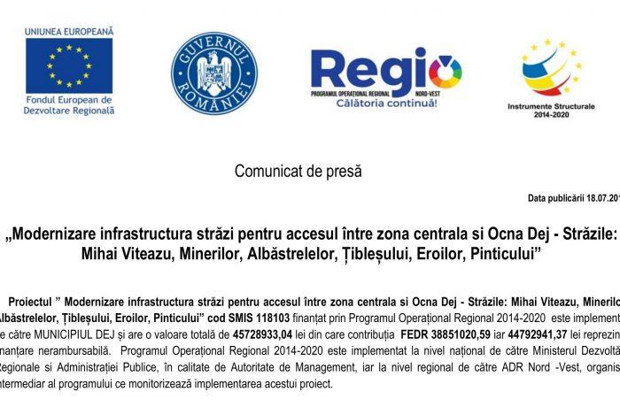 Modernizare infrastructura străzi pentru accesul între zona centrală și Ocna Dej – Străzile: Mihai Viteazu, Minerilor, Albăstrelelor, Țibleșului, Eroilor, Pinticului