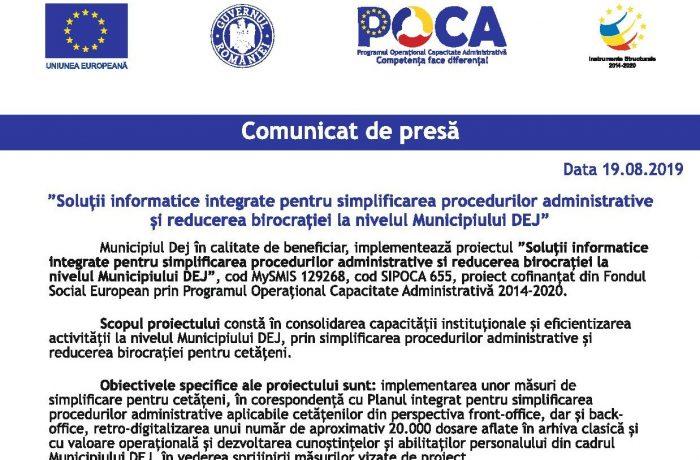 Soluţii informatice integrate pentru simplificarea procedurilor administrative şi reducerea birocraţiei la nivelul Municipiului DEJ